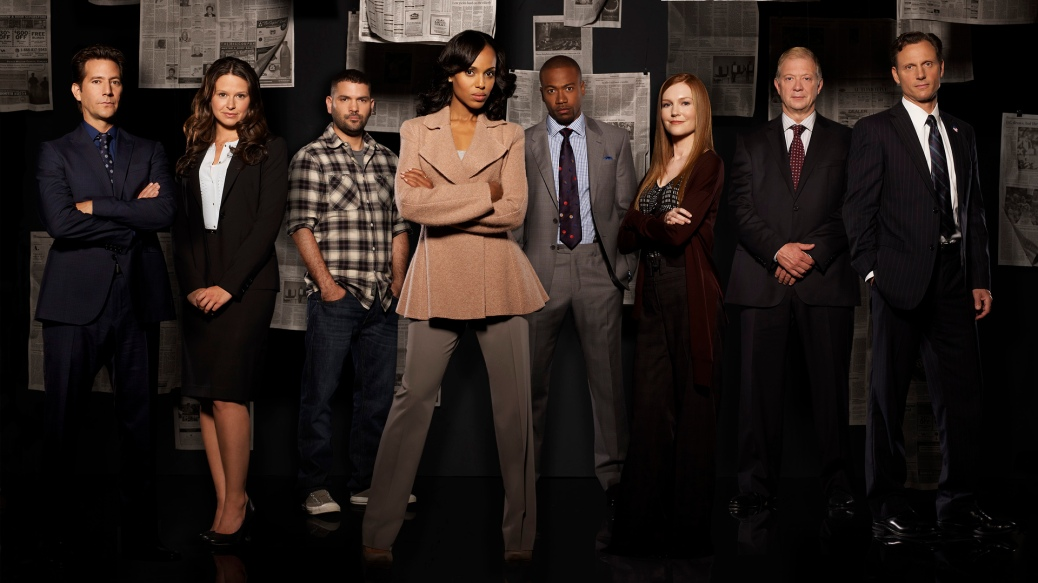 "SCANDAL - ABC's ""Scandal"" stars Henry Ian Cusick as Stephen Finch, Katie Lowes as Quinn Perkins, Guillermo Diaz as Huck, Kerry Washington as Olivia Pope, Columbus Short as Harrison Wright, Darby Stanchfield as Abby Whelan, Jeff Perry as Cyrus and Tony Goldwyn as President Fitzgerald Grant. (ABC/CRAIG SJODIN)"